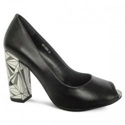 10460283605 Луксозни дамски обувки на ток с отворени пръсти № Е609 черни