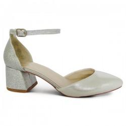 1f348f98727 Луксозни дамски обувки на токче с каишка № 19-042 бели